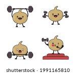 jicama fruit cartoon. with...   Shutterstock .eps vector #1991165810