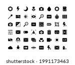camera interface glyph icon set