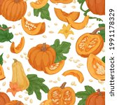 seamless fall pattern with... | Shutterstock .eps vector #1991178329