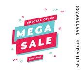 mega sale banner template  big... | Shutterstock .eps vector #1991199233