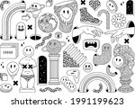 surreal sticker pack with... | Shutterstock .eps vector #1991199623