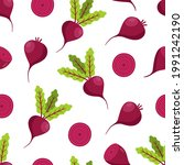 seamless pattern beetroot with...   Shutterstock .eps vector #1991242190
