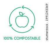 100  compostable line icon.... | Shutterstock .eps vector #1991243369