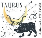 zodiac sign taurus in boho...   Shutterstock .eps vector #1991256680