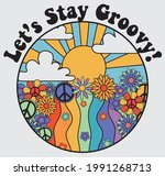 70s groovy retro rainbow... | Shutterstock .eps vector #1991268713