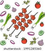 delicious fresh meats on skewer ...   Shutterstock .eps vector #1991285360