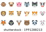 animal face icon set   monkey ... | Shutterstock .eps vector #1991288213