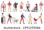 disabled people. handicapped ... | Shutterstock .eps vector #1991295086