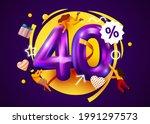 mega sale. 40 percent discount. ... | Shutterstock .eps vector #1991297573