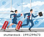 man with travel bag. tourist... | Shutterstock .eps vector #1991299673