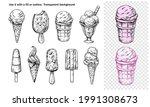 ice cream set. vector outline... | Shutterstock .eps vector #1991308673