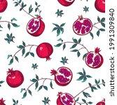 pomegranate seamless pattern.... | Shutterstock .eps vector #1991309840