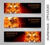 Set Banners. Fire Tiger Messag...