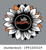 hello autumn on a gray...   Shutterstock .eps vector #1991335319