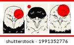 set of three line art vintage...   Shutterstock .eps vector #1991352776