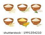 set of different types of flour ...   Shutterstock .eps vector #1991354210