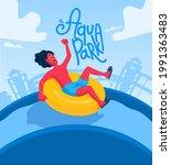 man on a water slide on an...   Shutterstock .eps vector #1991363483