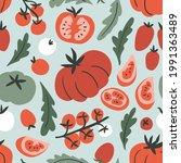 vector tomatoes seamless... | Shutterstock .eps vector #1991363489