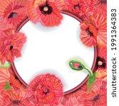 Poppy Flower Wreath  Round...