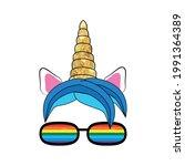 fabulous cute unicorn with... | Shutterstock .eps vector #1991364389