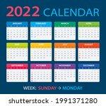 2022 calendar   vector... | Shutterstock .eps vector #1991371280