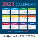 2022 calendar   vector... | Shutterstock .eps vector #1991371286