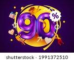 mega sale. 90 percent discount. ... | Shutterstock .eps vector #1991372510