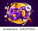 mega sale. 60 percent discount. ... | Shutterstock .eps vector #1991372513