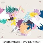 hand drawn art floral... | Shutterstock .eps vector #1991374250