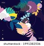 hand drawn art floral... | Shutterstock .eps vector #1991382536