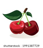 a couple of ripe cherries on a...   Shutterstock .eps vector #1991387729