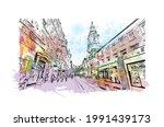 building view with landmark of... | Shutterstock .eps vector #1991439173