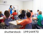 female high school teacher... | Shutterstock . vector #199144970