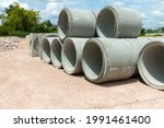 concrete drainage pipe on a... | Shutterstock . vector #1991461400