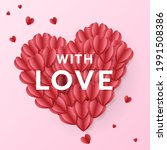 heart paper cut red and pink... | Shutterstock .eps vector #1991508386