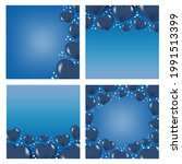 3d blue heart square card set... | Shutterstock .eps vector #1991513399