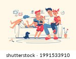 family together at home on sofa ... | Shutterstock .eps vector #1991533910