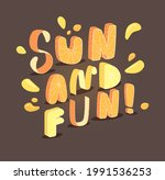 sun and fun  vibrant 3d letters ...   Shutterstock .eps vector #1991536253
