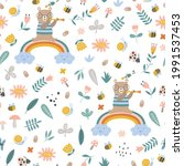 seamless childish pattern with... | Shutterstock .eps vector #1991537453