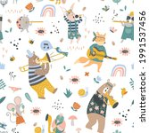 seamless childish pattern with... | Shutterstock .eps vector #1991537456