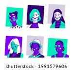 set of portraits of women of... | Shutterstock .eps vector #1991579606