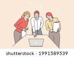 brainstorm  teamwork  business... | Shutterstock .eps vector #1991589539