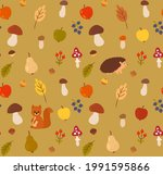 seamless autumn background with ... | Shutterstock .eps vector #1991595866