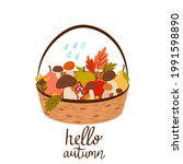 Basket With Mushrooms  Autumn...