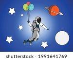 astronaut illustration flying... | Shutterstock .eps vector #1991641769