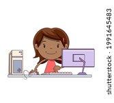 little girl working on computer ... | Shutterstock .eps vector #1991645483