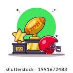 trophy and rugby helmet cartoon ... | Shutterstock .eps vector #1991672483