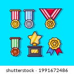 medal and trophy collection... | Shutterstock .eps vector #1991672486
