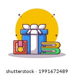 gift box and medal with box... | Shutterstock .eps vector #1991672489