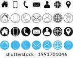 contacts icons for websites ... | Shutterstock .eps vector #1991701046